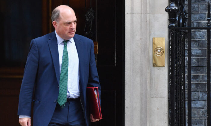 Britain's Defence Secretary Ben Wallace leaves Downing Street in London on Sept. 7, 2021. (Justin Tallis/AFP via Getty Images)