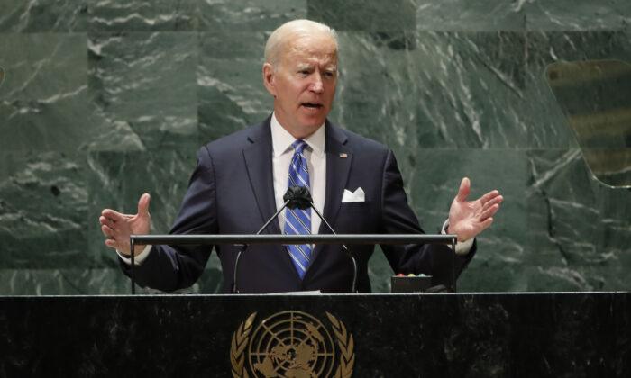 U.S. President Joe Biden speaks during the 76th Session of the United Nations General Assembly at U.N. headquarters in New York on Sept. 21, 2021. (Eduardo Munoz/Pool Photo via AP)