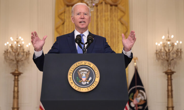 President Joe Biden speaks during an event in the East Room of the White House in Washington, D.C., on Sept. 16, 2021. (Win McNamee/Getty Images)