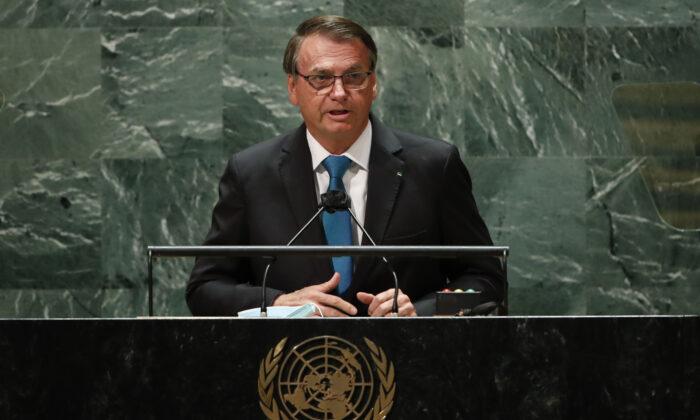 Brazil's President Jair Bolsonaro addresses the 76th Session of the U.N. General Assembly on Sept. 21, 2021, at U.N. headquarters in New York City. (Eduardo Munoz-Pool/Getty Images)