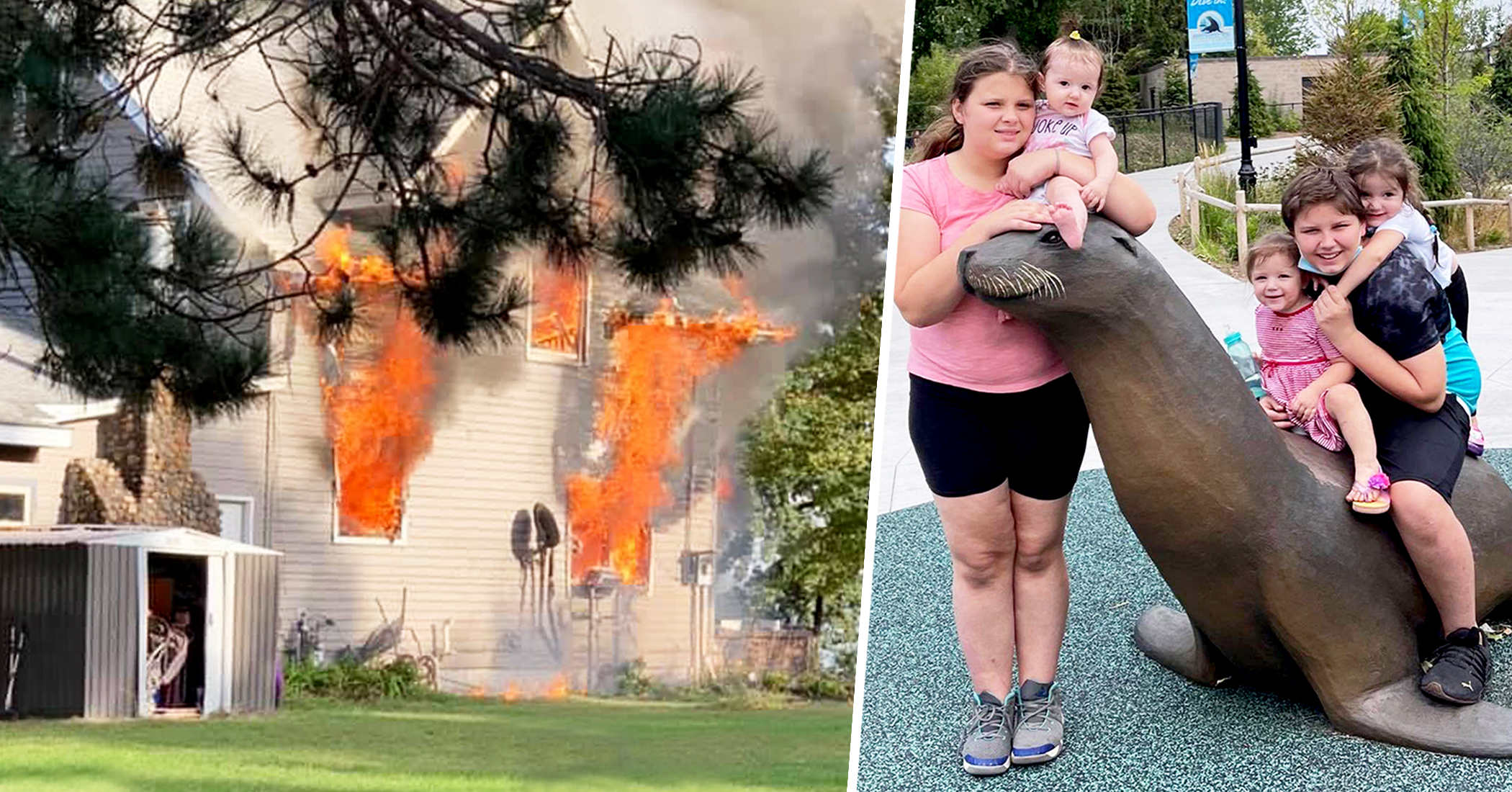 13-year-old boy home alone with 4 younger sisters saves siblings after house catches fire