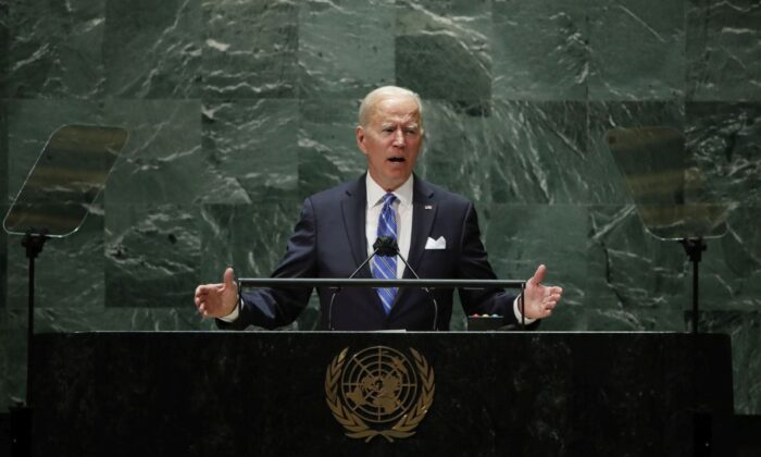 President Joe Biden addresses the 76th Session of the U.N. General Assembly at the U.N. headquarters in New York City on Sept. 21, 2021. (Eduardo Munoz-Pool/Getty Images)