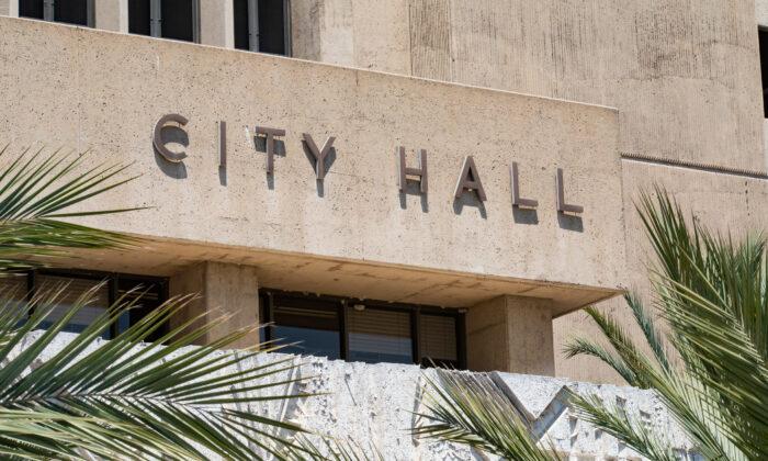Santa Ana City Hall in Santa Ana, Calif., on Aug. 14, 2020. (John Fredricks/The Epoch Times)