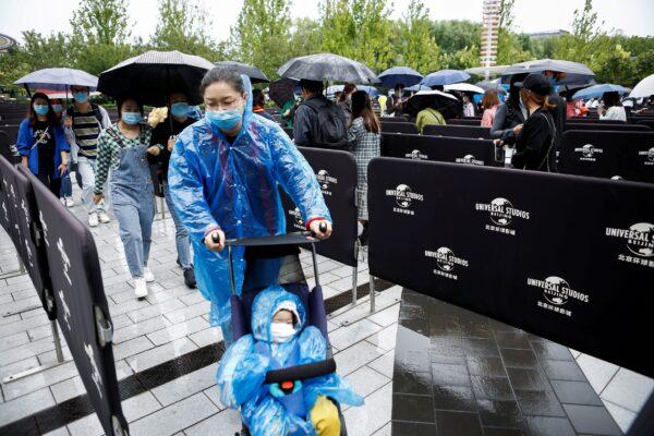 Visitors enter the Universal Beijing Resort
