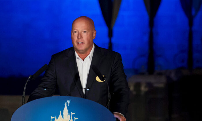 Bob Chapek, chairman of Walt Disney Parks and Resorts, speaks during the 10th anniversary ceremony of Hong Kong Disneyland in Hong Kong on Sept. 11, 2015. (Tyrone Siu/Reuters)