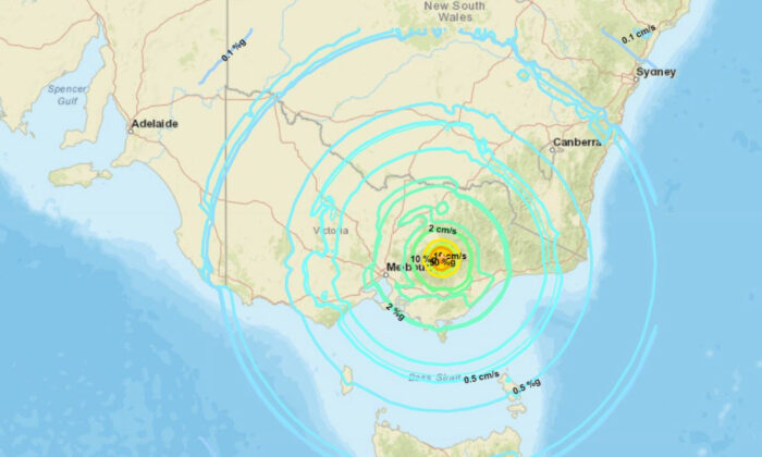 A map showing a magnitude 5.8 earthquake that struck Victoria, Australia on Sept. 22, 2021. (USGS)