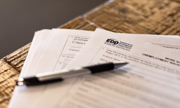 Employment Development Department paperwork in Irvine, Calif., on April 2, 2021. (John Fredricks/The Epoch Times)