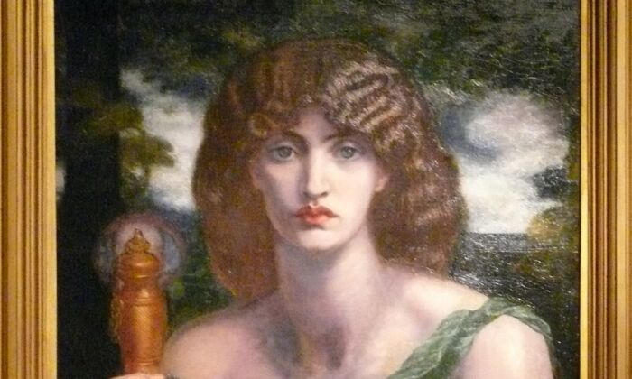 """Detail of """"Mnemosyne"""" (aka """"Lamp of Memory""""), 1881, by Dante Gabriel Rossetti. Oil on canvas; 49 3/4 inches by 24 inches. Samuel and Mary R. Bancroft Memorial, 1935, at the Delaware Art Museum. (CC BY-SA 3.0)"""
