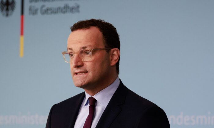 German Health Minister Jens Spahn gives a press statement in Berlin, on Sept. 22, 2021. (Odd Andersen/AFP via Getty Images)