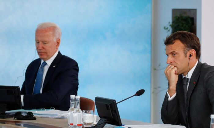 President Joe Biden and France's President Emmanuel Macron attend a plenary session during G7 summit in Carbis Bay in Cornwall, United Kingdom, on June 13, 2021. (Phil Noble - WPA Pool/Getty Images)