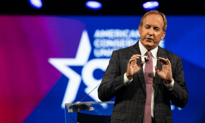 Texas Attorney General Ken Paxton speaks during the Conservative Political Action Conference (CPAC) held at the Hilton Anatole on July 11, 2021 in Dallas, Texas. (Brandon Bell/Getty Images)