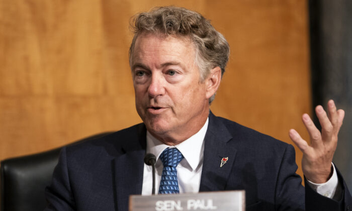 Sen. Rand Paul (R-Ky.) asks questions about FISA and Crossfire Hurricane during a Senate Homeland Security & Governmental Affairs hearing to discuss security threats 20 years after the 9/11 terrorist attacks at the U.S. Capitol in Washington, on Sept. 21, 2021. (Greg Nash - Pool/Getty Images)