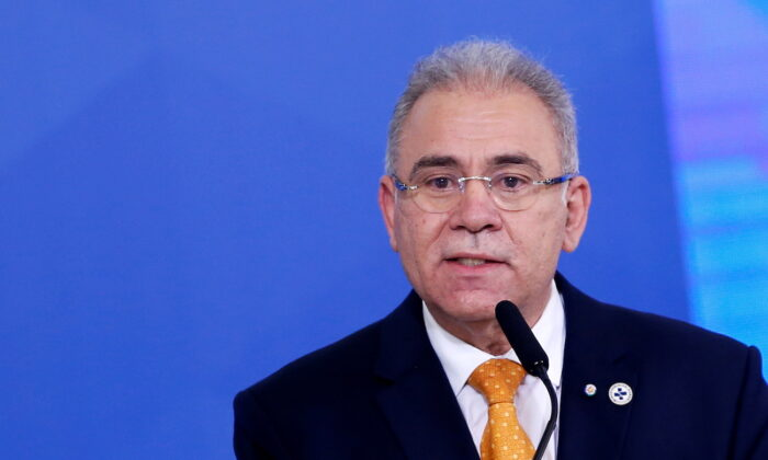 Brazil's Health Minister Marcelo Queiroga speaks during a ceremony at the Planalto Palace in Brasilia, Brazil, on Aug. 5, 2021. (Adriano Machado/Reuters)