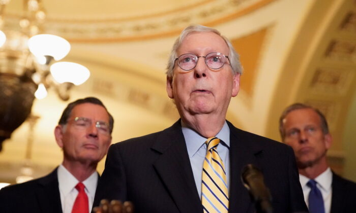 Senate Minority Leader Mitch McConnell (R-Ky.) speaks to reporters at the U.S. Capitol in Washington, on Sept. 21, 2021. (Elizabeth Frantz/Reuters)
