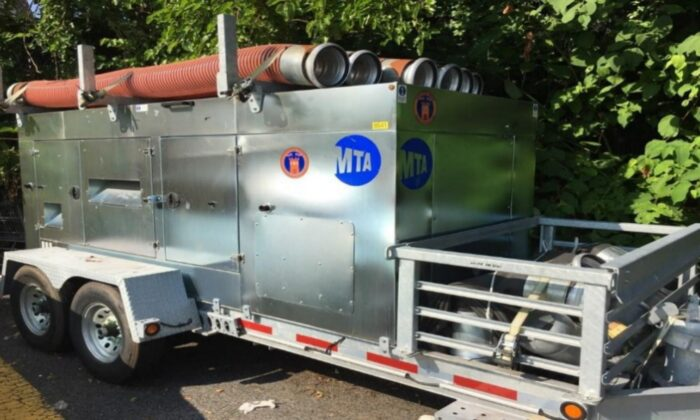 A trailer-mounted diesel pump. (Office of the MTA Inspector General)