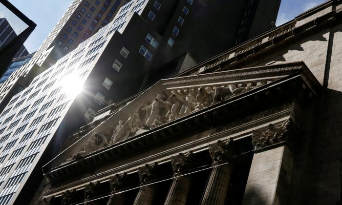 The front facade of the New York Stock Exchange (NYSE) is seen in New York on Feb. 16, 2021. (Brendan McDermid/Reuters)