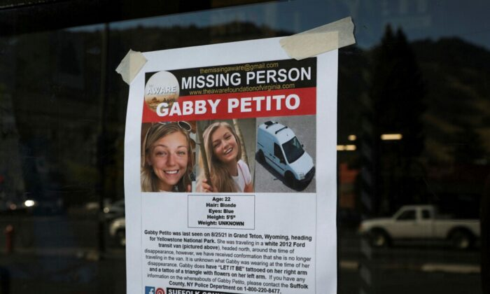 A Suffolk County Police Department missing person poster for Gabby Petito is seen in Jackson, Wyo., on Sept. 16, 2021. (Amber Baesler/AP Photo)