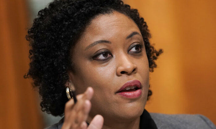 Office of Management and Budget acting director Shalanda Young answers questions during a Senate Budget Committee hearing in Washington on June 8, 2021. (Greg Nash/Pool/Getty Images)