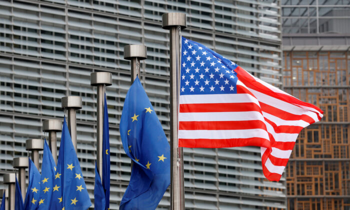 U.S. and European Union flags are pictured at the European Commission headquarters in Brussels on Feb. 20, 2017. (Francois Lenoir/Reuters)