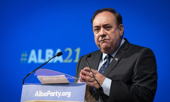 Alex Salmond delivers his leaders speech during the first annual conference for the Alba Party at Greenock Town Hall, Greenock, Inverclyde, Scotland, on Sept. 12, 2021. (Jane Barlow/PA)