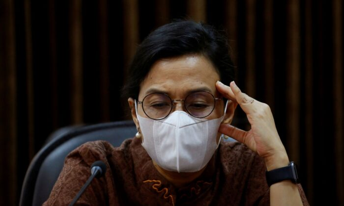 Indonesian Finance Minister Sri Mulyani at the Presidential Palace in Jakarta, Indonesia, on Nov. 13, 2020. (Willy Kurniawan/Reuters)