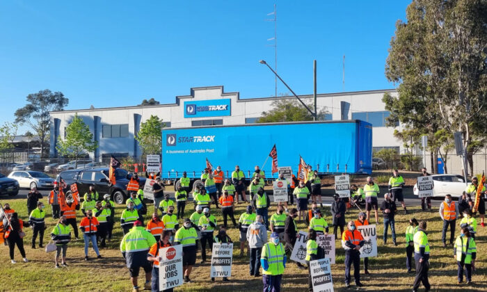 StarTrack workers on strike in Sydney after crisis talks failed in Sydney, Australia on Sept. 23, 2021. (AAP Image/Supplied by Transport Workers Union)