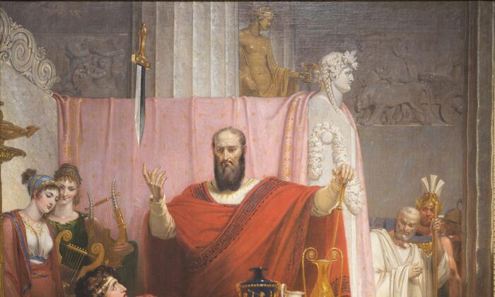 """A detail from """"The Sword of Damocles,"""" 1812, by Richard Westall. Oil on canvas, 51 3/16 inches by 40 9/16 inches. Ackland Art Museum, North Carolina. (PD-US)"""