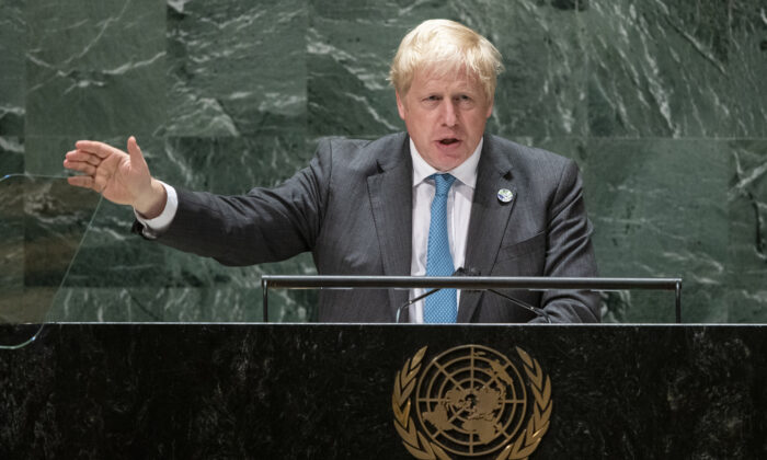 British Prime Minister Boris Johnson addresses the 76th Session of the U.N. General Assembly in New York City on Sept. 22, 2021. (Eduardo Munoz - Pool/Getty Images)