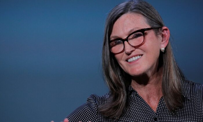 Cathie Wood, founder and CEO of ARK Investment Management LLC, speaks during the Skybridge Capital SALT New York 2021 conference in New York City on Sept. 13, 2021. (Brendan McDermid/Reuters)