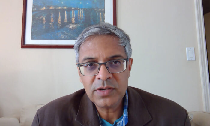 Stanford University's Dr. Jay Bhattacharya speaks remotely with The Epoch Times on COVID-19 data and criticism from other faculty, on Sept. 21, 2021. (Cynthia Cai/The Epoch Times)