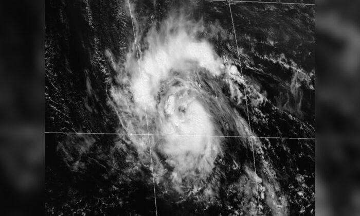 A satellite view of Tropical Storm Sam over the Atlantic Ocean on Sept. 23, 2021. (NOAA)