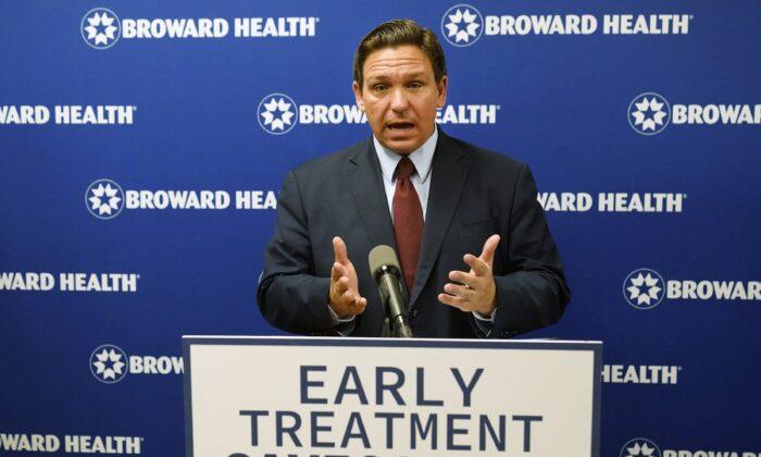 Florida Gov. Ron DeSantis speaks at a news conference at the Broward Health Medical Center in Fort Lauderdale, Fla., on Sept. 16, 2021. (Wilfredo Lee/AP Photo)