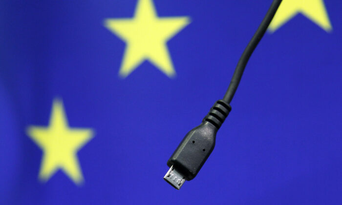 A view of a harmonized mobile phone charger is seen during a news conference at the European Commission headquarters in Brussels, Belgium, on Feb. 8, 2011. (Francois Lenoir/Reuters)
