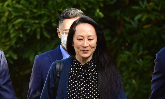 Huawei Chief Financial Officer Meng Wanzhou leaves her Vancouver home to attend a court hearing on Sept. 24, 2021. (Don MacKinnon/AFP via Getty Images)