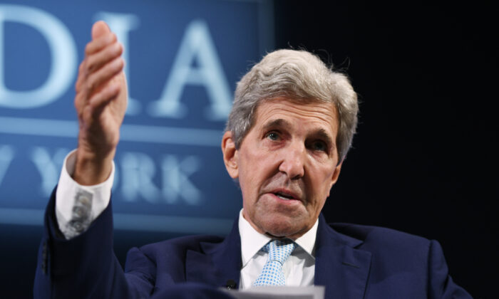 U.S. climate envoy John Kerry speaks onstage during the 2021 Concordia Annual Summit at Sheraton New York in New York City on Sept. 20, 2021. (Riccardo Savi/Getty Images for Concordia Summit)