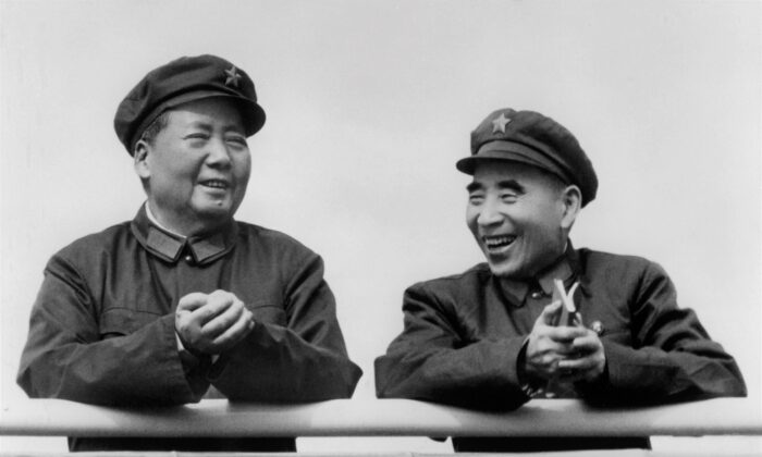 Former Chinese leader Mao Zedong (L) and his officially designated successor Lin Biao on July 29, 1971 at Beijing. China's state-run media outlets recently condemned Lin's alleged military coup plot against Mao. However, prior to Xi Jinping taking power, Chinese authorities had taken steps to restore Lin's reputation. (AFP via Getty Images)