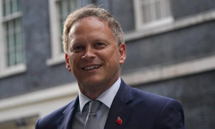 Transport Secretary Grant Shapps in Downing Street, London, on Sept. 15, 2021. (Victoria Jones/PA)