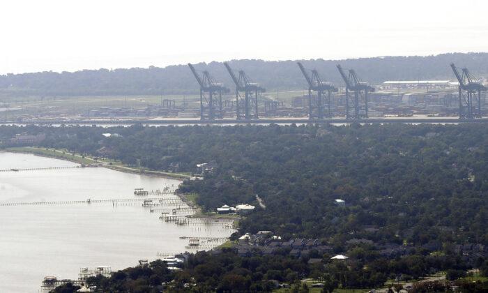 Cranes at the Port of Houston, in Houston,  Texas, on Sept. 1, 2017. (David J. Phillip/AP Photo)