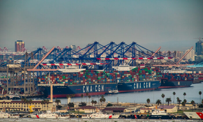 Shipping vessels are docked at The Port of Los Angeles, in Long Beach, Calif., on Jan. 12, 2021. (John Fredricks/The Epoch Times)