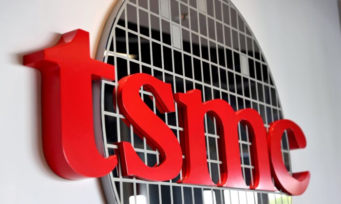 The logo of Taiwan Semiconductor Manufacturing Co. (TSMC) is pictured at its headquarters in Hsinchu, Taiwan on Jan. 19, 2021. (Ann Wang/Reuters)