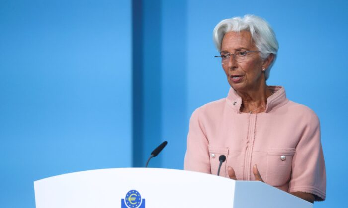 President of the European Central Bank (ECB) Christine Lagarde speaks as she takes part in a news conference on the outcome of the Governing Council meeting, in Frankfurt, Germany on Sept. 9, 2021. (Kai Pfaffenbach/Reuters)