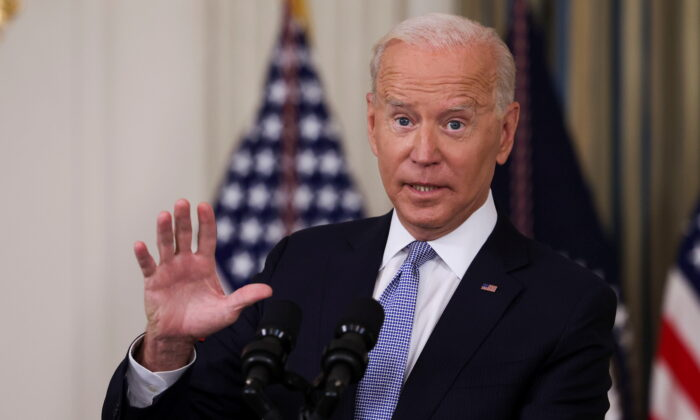 President Joe Biden speaks about COVID-19 vaccine booster shots at the White House on Sept. 24, 2021. (Evelyn Hockstein/Reuters)
