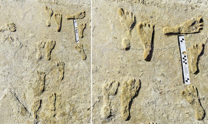 This undated photo made available by the National Park Service in September 2021 shows fossilized human footprints at the White Sands National Park in New Mexico. (NPS via AP)