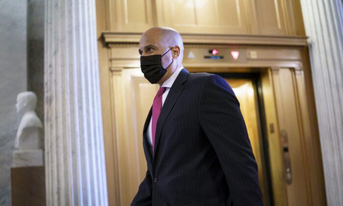 Sen. Cory Booker (D-N.J.) arrives at the Senate chamber at the Capitol in Washington on Sept. 22, 2021. (J. Scott Applewhite/AP Photo)