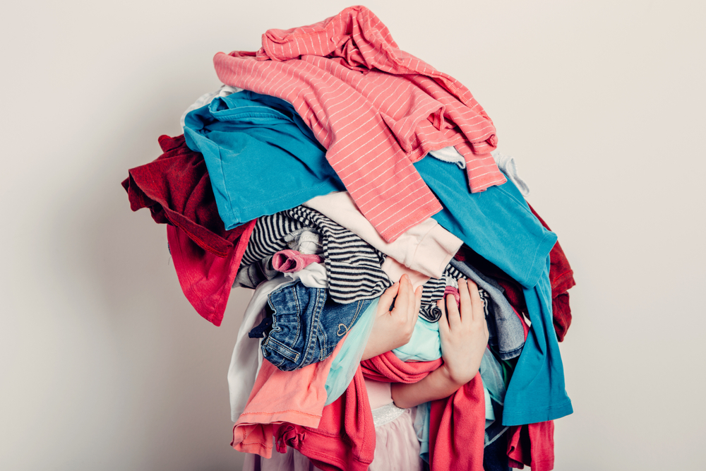 Mommy,Little,Helper.,Cute,Caucasian,Girl,Sorting,Clothes.,Adorable,Funny