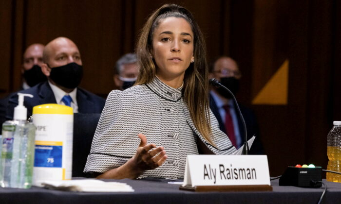 Olympic gymnast Aly Raisman testifies during a Senate Judiciary hearing about the Inspector General's report on the FBI handling of the Larry Nassar investigation of sexual abuse of Olympic gymnasts, on Capitol Hill, in Washington, D.C. on Sept. 15, 2021. (Graeme Jennings/Pool via Reuters)