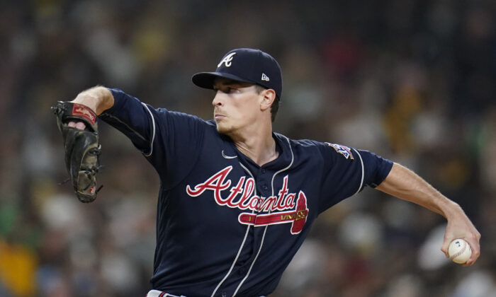 Atlanta Braves starting pitcher Max Fried works against a San Diego Padres batter during the second inning of a baseball game Friday, Sept. 24, 2021, in San Diego. (Gregory Bull/AP Photo)