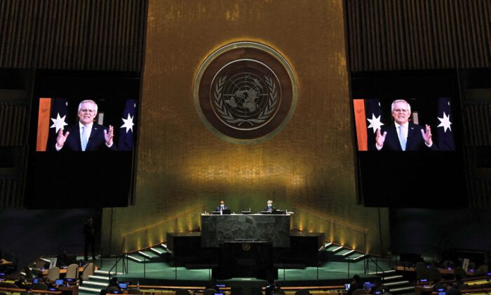 Prime Minister of the Commonwealth of Australia Scott Morrison addresses via prerecorded video the General Debate of the 76th Session of the United Nations General Assembly at UN headquarters in New York, on Sept. 24, 2021,. (Peter Foley/Pool/AFP via Getty Images)
