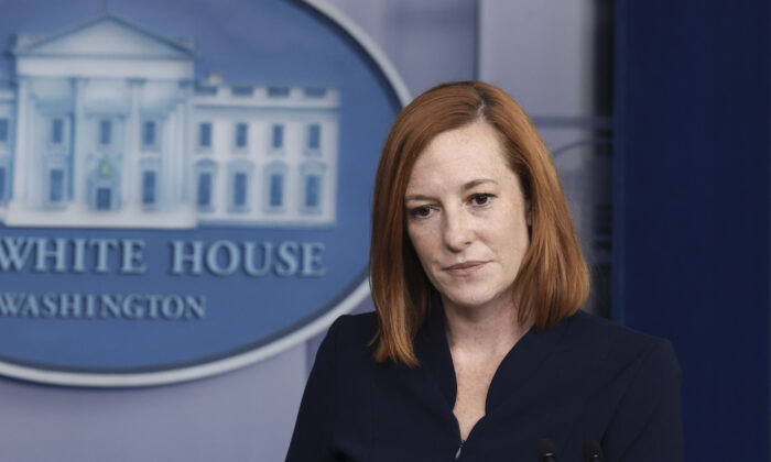 White House Press Secretary Jen Psaki speaks at a briefing at the White House in Washington on Sept. 24, 2021. (Anna Moneymaker/Getty Images)