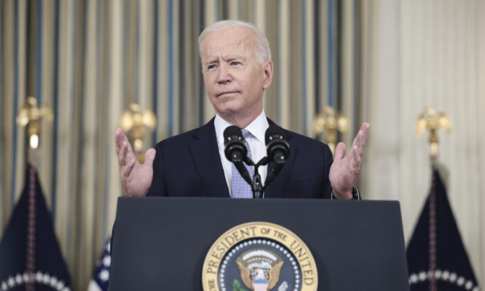 President Joe Biden gestures as he speaks to reporters at the White House on Sept. 24, 2021. (Anna Moneymaker/Getty Images)